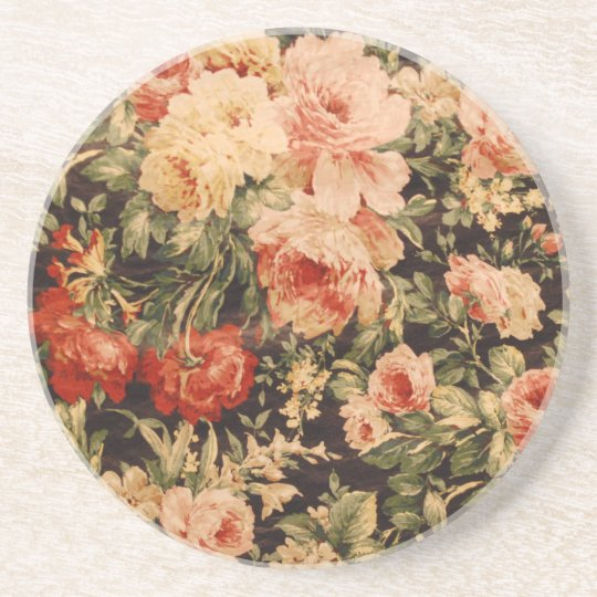 Vintage flowers rose texture 900s style coaster