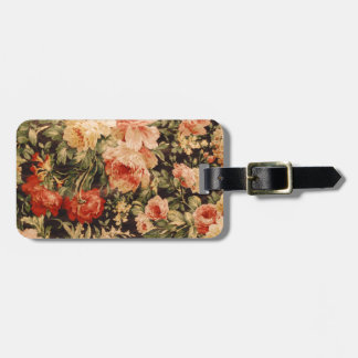 Vintage flowers rose texture 900s style luggage tag