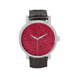 Vintage Flowers Ruby Cranberry Red Floral Wrist Watches