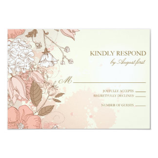 "Vintage Flowers Spring Garden Wedding RSVP Card 3.5"" X 5"" Invitation Card"