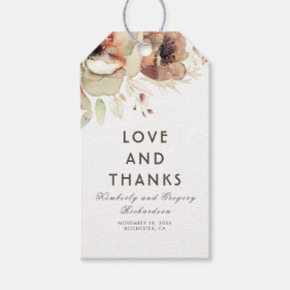 Vintage Flowers Watercolor Fall Wedding Gift Tags