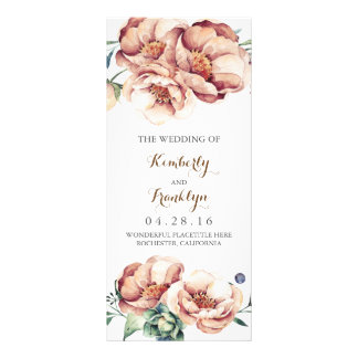 vintage flowers watercolor fall wedding programs