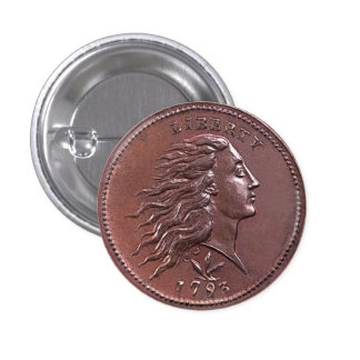 Vintage Flowing Hair Large Cent 1 Inch Round Button