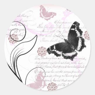 Vintage flutter classic round sticker