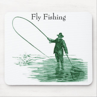 Vintage Fly Fishing Art Mouse Pad