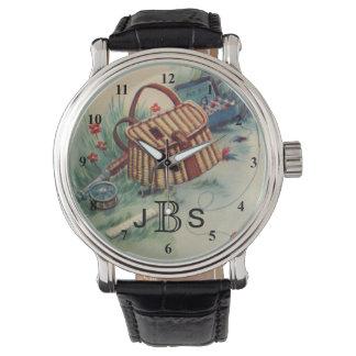 Vintage Fly Fishing Fisherman | Masculine Monogram Wristwatch