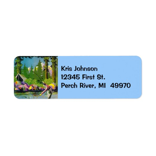 Vintage Fly-fishing River Camp Cabin Address Label
