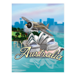Vintage Fly to Australia Travel Poster Postcard