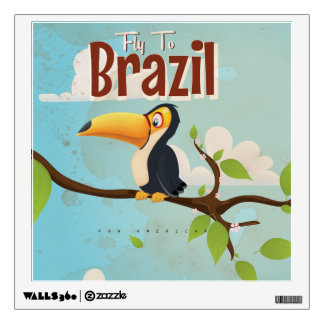 Vintage fly to Brazil Toucan Travel Poster Wall Decal