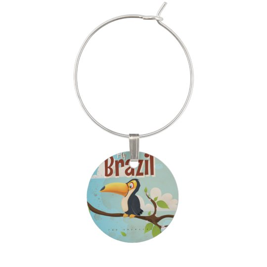 Vintage fly to Brazil Toucan Travel Poster Wine Charms