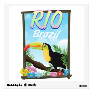 Vintage fly to Brazil Toucan Travel Wall Sticker