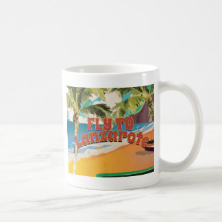 Vintage Fly To Lanzarote Travel Poster Coffee Mug
