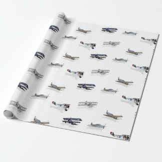 Vintage Flying Aircraft Wrapping Paper