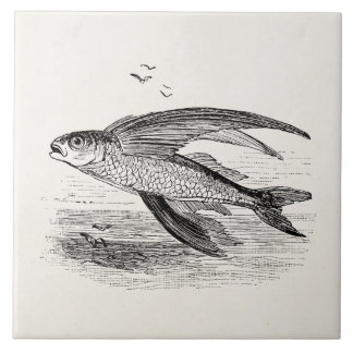 Vintage Flying Fish Antique Personalized Template Tile