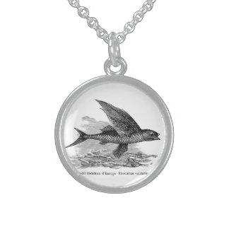 Vintage flying fish illustration necklace