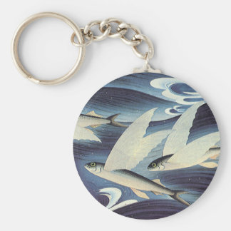 Vintage Flying Fish in Blue Ocean, Aquatic Animals Keychain
