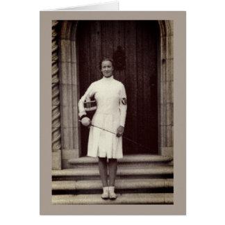 Vintage Foil Fencer Helene Mayer Greeting Card