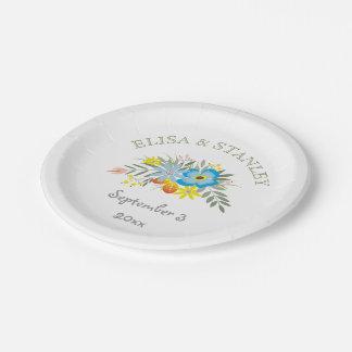 Vintage folklore blue flowers modern wedding paper plate