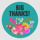 Vintage Folklore Floral Thank You   teal white Classic Round Sticker