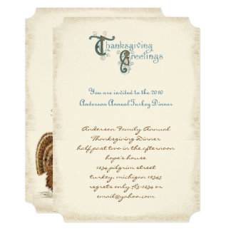 Vintage Font Thanksgiving Harvest Invitations