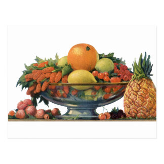 Vintage Food, Assorted Fruit in a Bowl Postcard