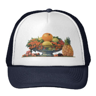 Vintage Food, Assorted Fruit in a Bowl Trucker Hat