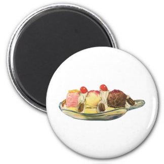 Vintage Food Desserts, Banana Split Cherries 2 Inch Round Magnet
