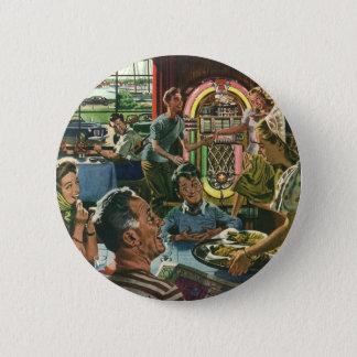 Vintage Food, Family Dinner Meal Diner Restaurant 2 Inch Round Button
