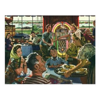 Vintage Food, Family Dinner Meal Diner Restaurant Postcard