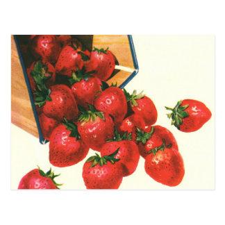 Vintage Food Fruit Berries, Strawberries in Basket Postcards