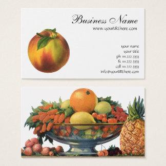 Vintage Food Fruit, Ripe Organic Peach with Leaf Business Card