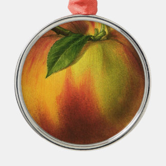 Vintage Food Fruit, Ripe Organic Peach with Leaf Metal Ornament