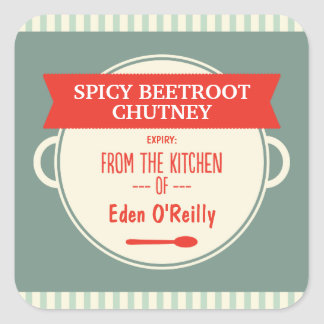 Vintage Food Gift Labels - Christmas Square Sticker