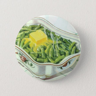 Vintage Food, Green Bean Casserole with Butter 2 Inch Round Button
