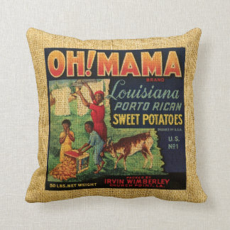 Vintage Food label Oh Mama and Banjo brand Throw Pillow