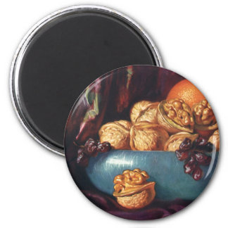 Vintage Food, Walnuts and Fruit in a Blue Bowl 2 Inch Round Magnet