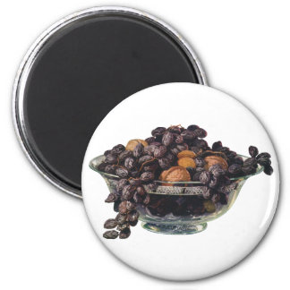 Vintage Foods, Walnuts and Almonds, Fruit and Nuts 2 Inch Round Magnet