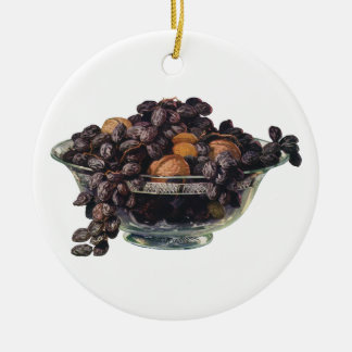 Vintage Foods, Walnuts and Almonds, Fruit and Nuts Round Ceramic Ornament