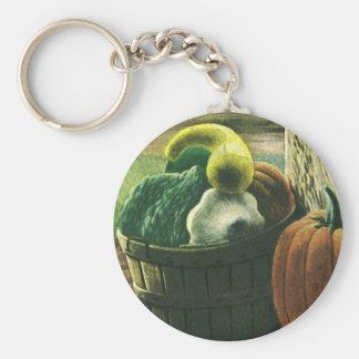 Vintage Foods, Winter Squash, Pumpkin and Apples Basic Round Button Keychain