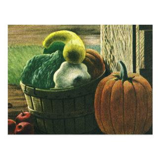 Vintage Foods, Winter Squash, Pumpkin and Apples Postcard