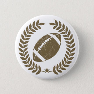 Vintage Football Olive Leaf and Star 2 Inch Round Button