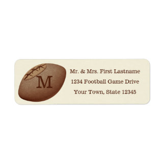 Vintage Football with Monogram Return Address Label