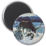 Vintage Forest Creatures and Elk in Winter Snow 2 Inch Round Magnet