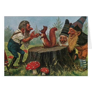 Vintage - Forest Gnomes Meet a Squirrel, Card