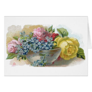 Vintage Forget Me Not Roses Greeting Card