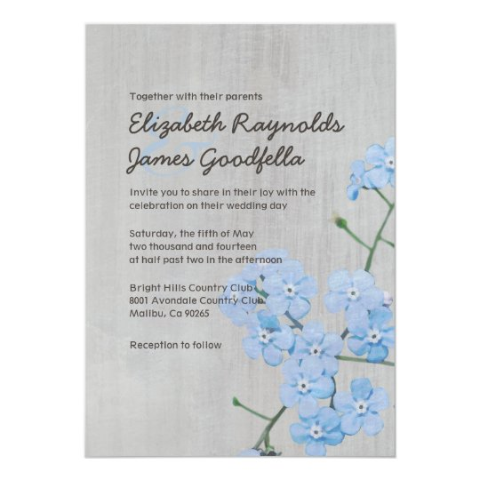 Vintage Forget-Me-Not Wedding Invitations