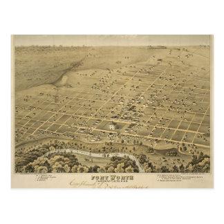 Vintage Fort Worth Map Postcard