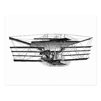 Vintage Four Wing Flying Machine Postcard