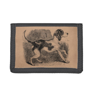 Vintage Fox Hound Dog 1800s Hounds Dogs Template Trifold Wallets
