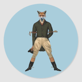 Vintage fox Hunting Round Sticker